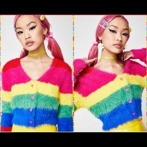 467292e50b3b5 Lazy Oaf Fluffy Rainbow Cardigan- Super Soft! Sz S